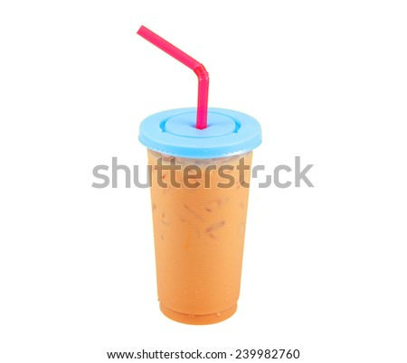 Iced coffee in plastic glass isolated on white background - stock photo
