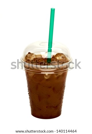 Iced coffee in take away cup isolated on white background - stock photo