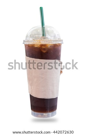 Iced coffee in takeaway cup isolated on white background. - stock photo