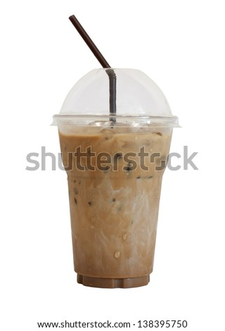 Iced Coffee Isolated On White Background - stock photo