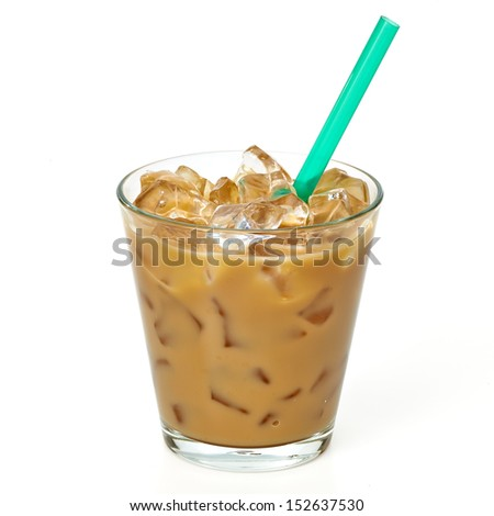 Iced coffee latte and straw in glass including clipping path - stock photo