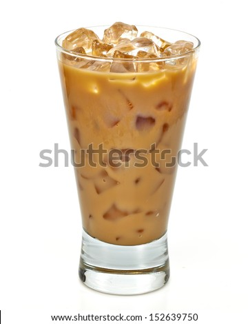 Iced coffee latte in long glass with clipping path - stock photo
