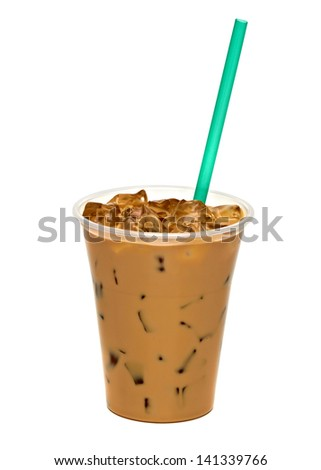 Iced Coffee Latte In Takeaway Cup On White Background