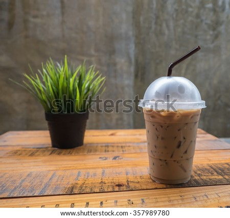 Iced coffee take-home cup - stock photo