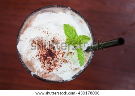 Iced coffee toping with whipped cream, stock photo - stock photo