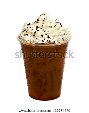 Iced coffee with cream topping in cup on white background - stock photo