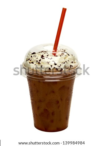 Iced coffee with cream topping in takeaway cup on white background - stock photo