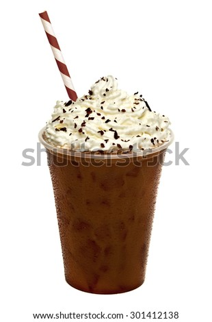 Iced coffee with cream topping in to go cup with straw isolated on white background - stock photo