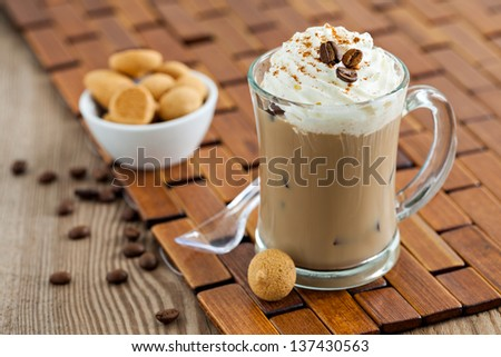iced coffee with ice and cream