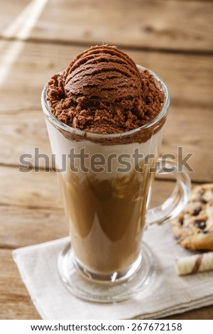 iced coffee with milk and chocolate ice cream