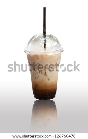 Iced coffee with straw in plastic cup isolated on white background - stock photo