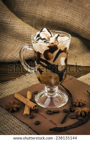 Iced coffee with whipped cream - stock photo