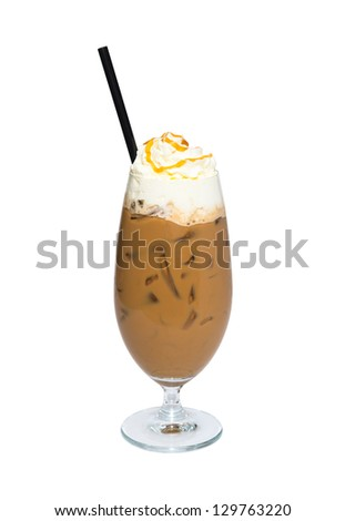 Iced coffee with whipped cream and caramel - stock photo