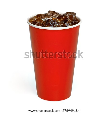 Iced cola in paper cup on white background - stock photo