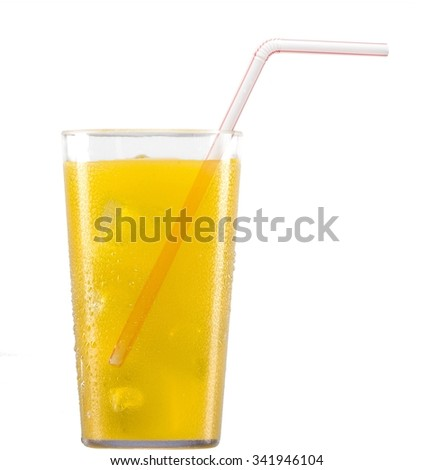 iced cold soda in a glass container with a bendable straw