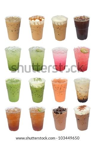 Iced Drinks Compilation isolated on white background - stock photo