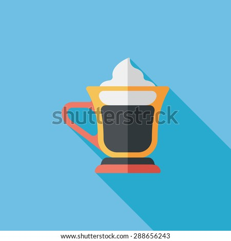 iced floating coffee flat icon with long shadow