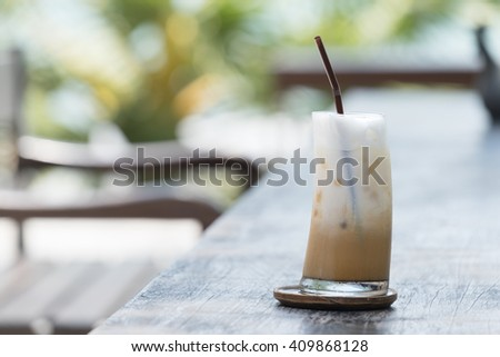 Iced latte coffee.
