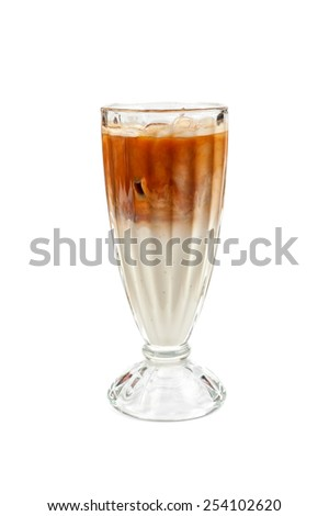 Iced latte coffee in glass on a white - stock photo