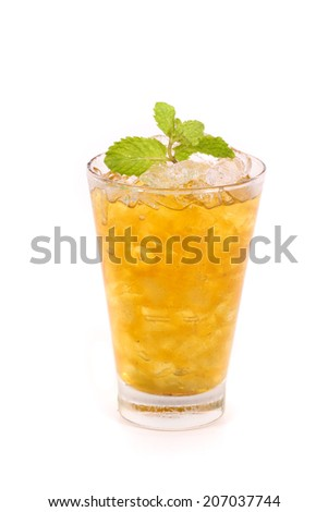 iced lemon tea isolated on white background - stock photo