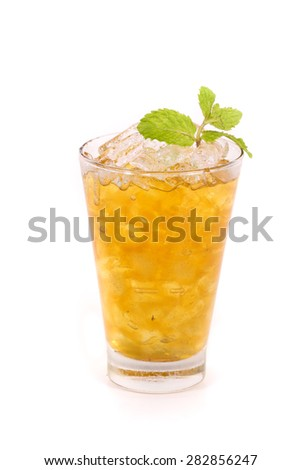 iced lemon tea isolated on white background