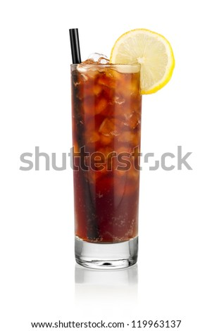 iced soda lemon in front of white background