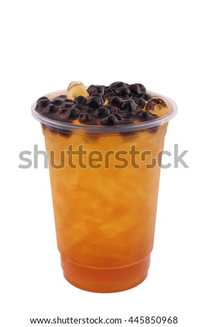 Iced tea in a glass isolated on white background - stock photo