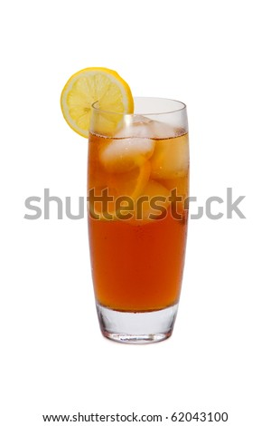 Iced tea with lemon slices on white background - stock photo