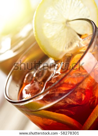 iced tea with sunlight - stock photo