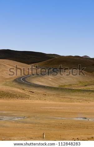 Iceland  a road in a desert land