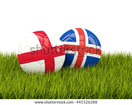 Iceland and England soccer balls on grass. 3D illustration - stock photo