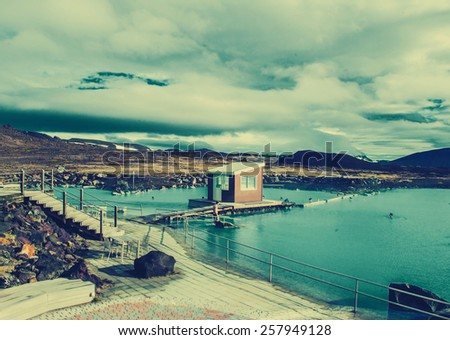 Iceland background blue lagoon - stock photo
