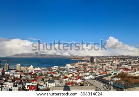 Iceland capital city Reykjavik from above panoramic view - stock photo