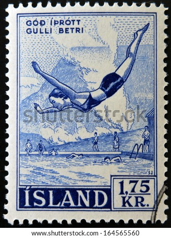 ICELAND - CIRCA 2007: A stamp printed in Iceland dedicated to swimming, shows woman jumping