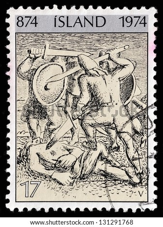 ICELAND - CIRCA 1974: A stamp printed in ICELAND show fighting viking, printed in Island 1974.