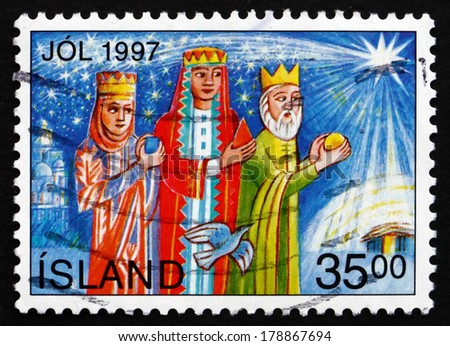 ICELAND - CIRCA 1997: a stamp printed in the Iceland shows Magi, Christmas, circa 1997 - stock photo