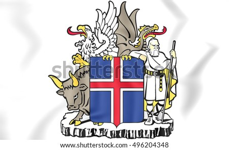Iceland Coat of Arms. 3D Illustration.