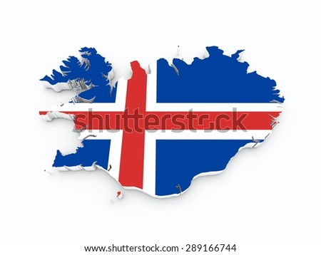 iceland flag on 3d map