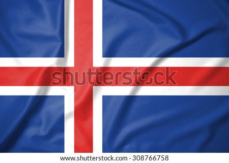 iceland flag on soft and smooth silk texture