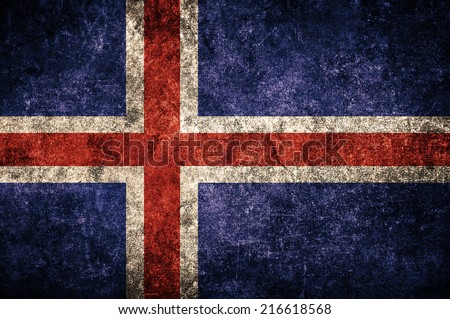 Iceland flag on the grunge concrete wall - stock photo