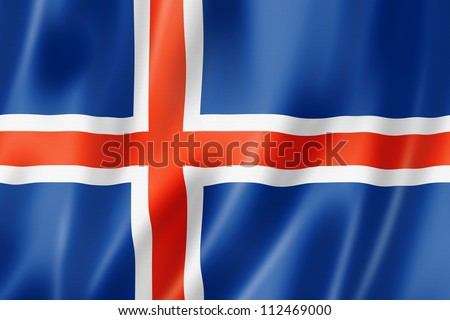Iceland flag, three dimensional render, satin texture