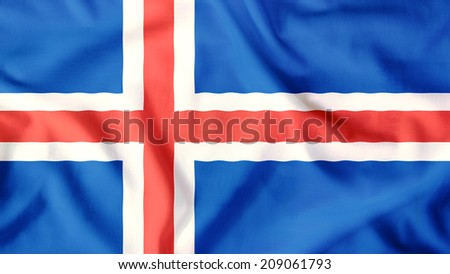 Iceland flag waving colorful