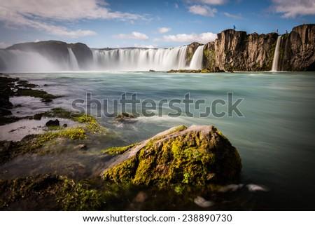Iceland, Godafoss waterfall in a beautiful sunny summer day - stock photo