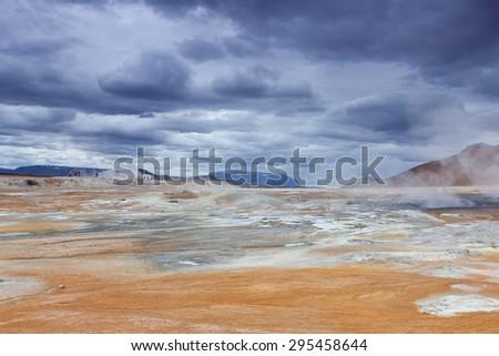 Iceland - Hverir volcanic field - stock photo