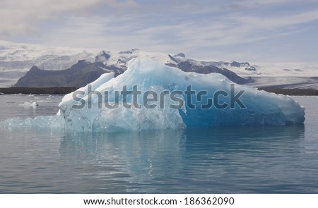 Iceland. Icebergs, lake and glacier. Horizontal. - stock photo