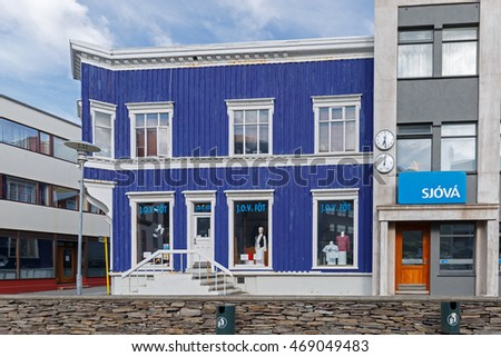 Iceland Isafjordur June 15, 2016 Isafjordur main street with colored shops