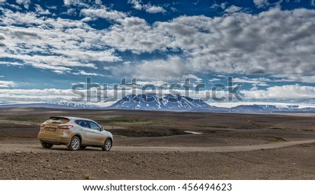 Iceland June 22, 2016 4x4x car on the Kjolur route at the inland of Iceland.