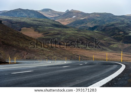 Iceland Landscape with Mountain and Road. Moss and Lava Ground