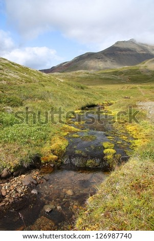 Iceland - Lonsoraefi and Stafafellmountains. Inactive volcano and small stream.