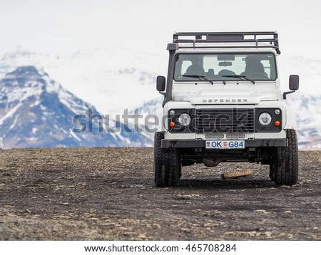 ICELAND - Mar 2016: Land Rover Defender on MAR 05, 2016 in Reykjavik, Iceland. The iconic and legendary Land Rover Defender was issued in 1983. It goes out of production in Dec. 2015.